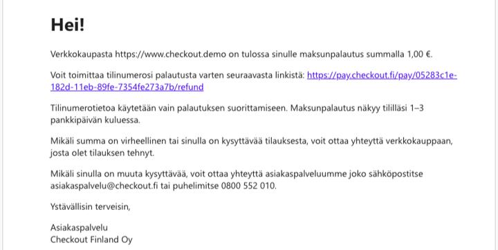 Palautus sähköposti